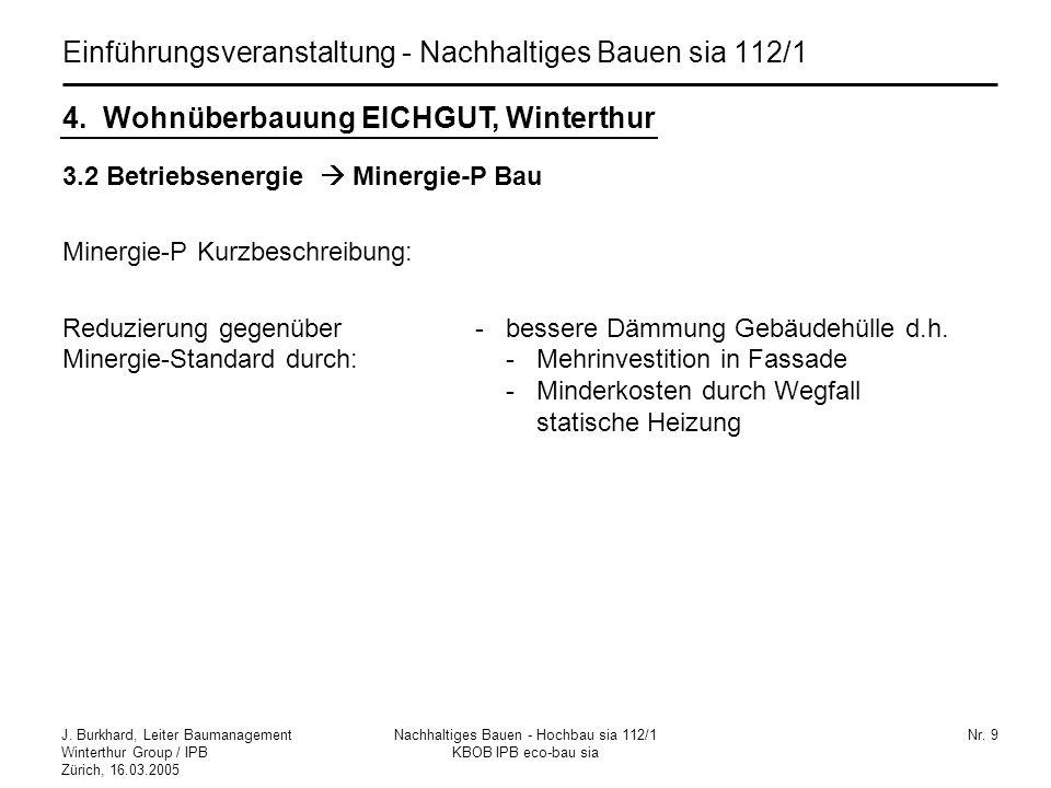 J. Burkhard, Leiter Baumanagement Winterthur Group / IPB Zürich, 16.03.2005 Nachhaltiges Bauen - Hochbau sia 112/1 KBOB IPB eco-bau sia Nr. 9 Einführu