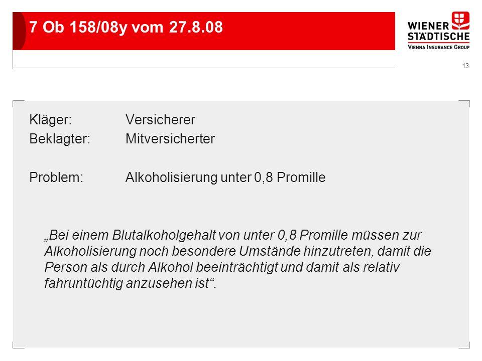 13 7 Ob 158/08y vom 27.8.08 Kläger:Versicherer Beklagter:Mitversicherter Problem:Alkoholisierung unter 0,8 Promille Bei einem Blutalkoholgehalt von un