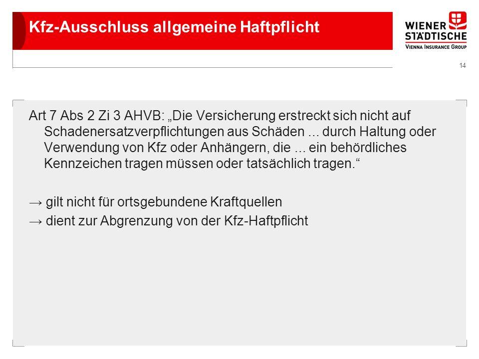 14 Kfz-Ausschluss allgemeine Haftpflicht Art 7 Abs 2 Zi 3 AHVB: Die Versicherung erstreckt sich nicht auf Schadenersatzverpflichtungen aus Schäden...