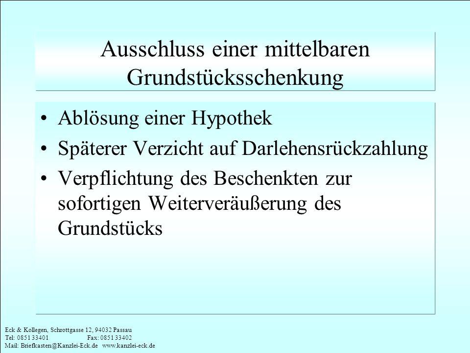 Eck & Kollegen, Schrottgasse 12, 94032 Passau Tel: 0851 33401 Fax: 0851 33402 Mail: Briefkasten@Kanzlei-Eck.de www.kanzlei-eck.de Ausschluss einer mit