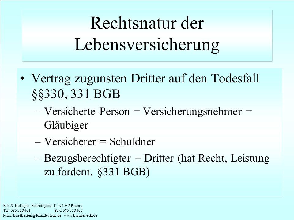 Eck & Kollegen, Schrottgasse 12, 94032 Passau Tel: 0851 33401 Fax: 0851 33402 Mail: Briefkasten@Kanzlei-Eck.de www.kanzlei-eck.de Rechtsnatur der Lebe