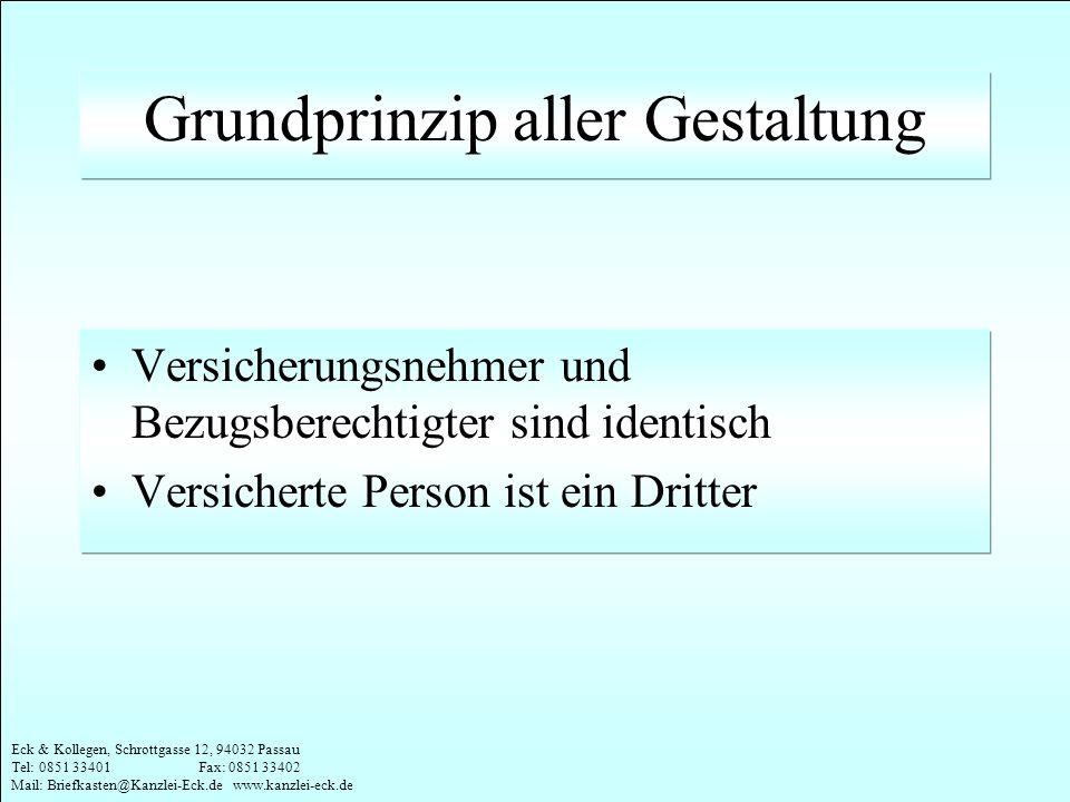 Eck & Kollegen, Schrottgasse 12, 94032 Passau Tel: 0851 33401 Fax: 0851 33402 Mail: Briefkasten@Kanzlei-Eck.de www.kanzlei-eck.de Grundprinzip aller G