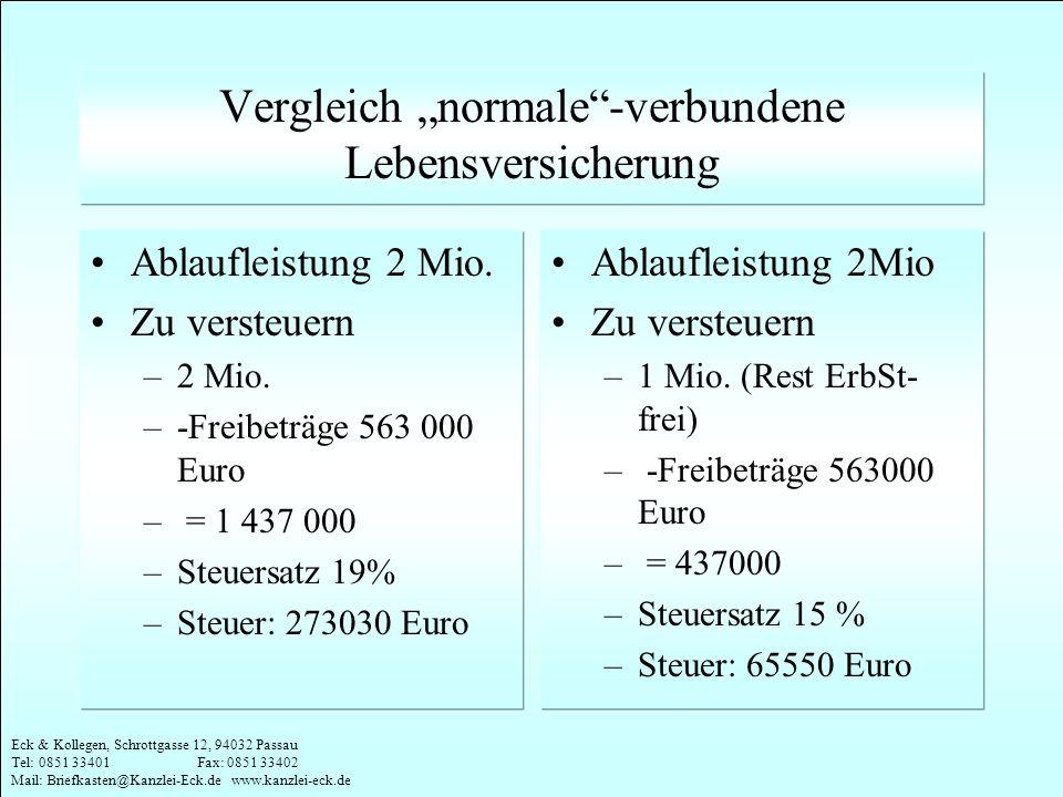 Eck & Kollegen, Schrottgasse 12, 94032 Passau Tel: 0851 33401 Fax: 0851 33402 Mail: Briefkasten@Kanzlei-Eck.de www.kanzlei-eck.de Vergleich normale-ve