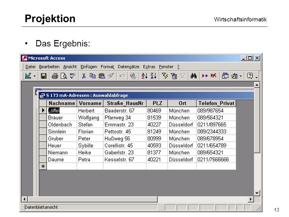 Wirtschaftsinformatik SQL/QBE13 Projektion Das Ergebnis: