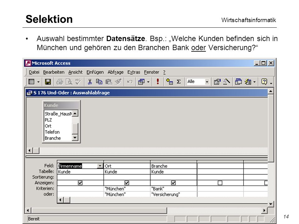 Wirtschaftsinformatik SQL/QBE14 Selektion Auswahl bestimmter Datensätze.