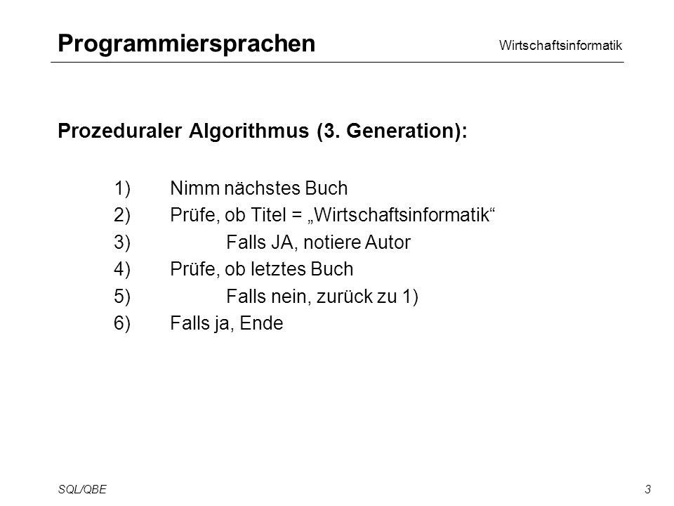 Wirtschaftsinformatik SQL/QBE3 Programmiersprachen Prozeduraler Algorithmus (3.