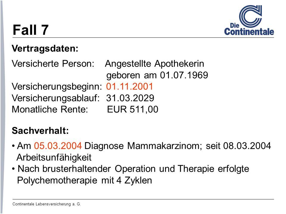 Continentale Lebensversicherung a. G. Fall 7 Vertragsdaten: Versicherte Person: Angestellte Apothekerin geboren am 01.07.1969 Versicherungsbeginn: 01.