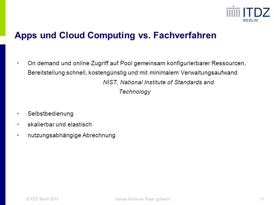 © ITDZ Berlin 201311Messe Moderner Staat: goBerlin Apps und Cloud Computing vs. Fachverfahren On demand und online Zugriff auf Pool gemeinsam konfigur