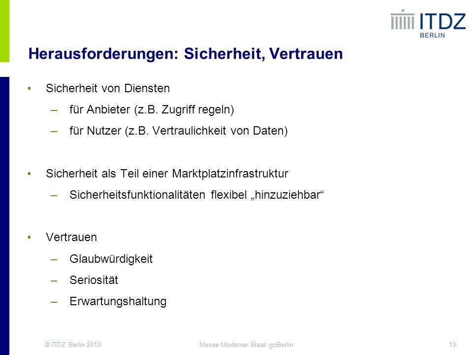 © ITDZ Berlin 201313Messe Moderner Staat: goBerlin Herausforderungen: Sicherheit, Vertrauen Sicherheit von Diensten –für Anbieter (z.B. Zugriff regeln