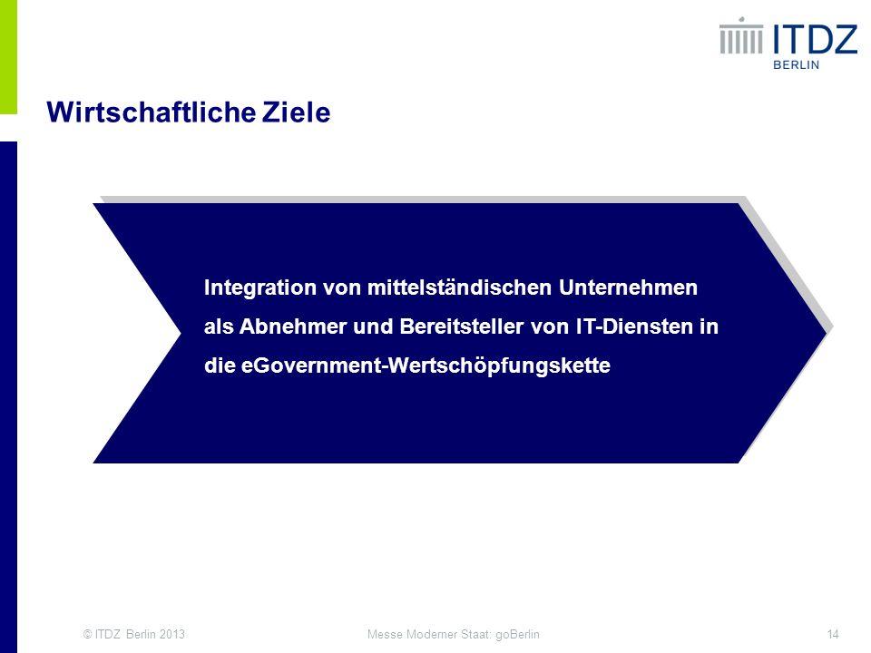 © ITDZ Berlin 201314Messe Moderner Staat: goBerlin Wirtschaftliche Ziele eGovernment Competence Center Integration von mittelständischen Unternehmen a