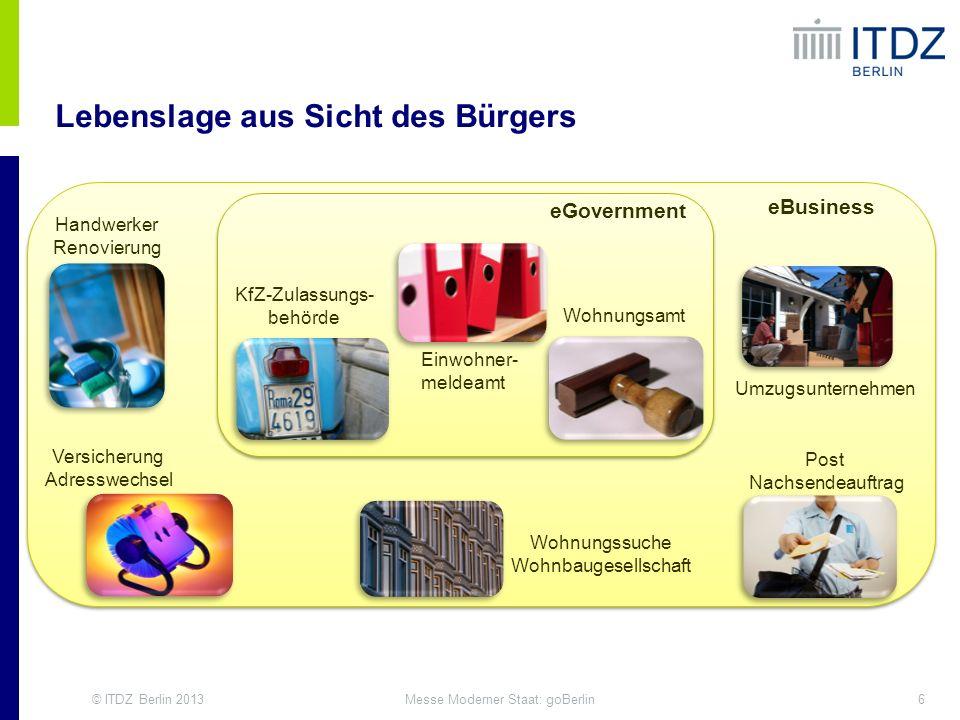 © ITDZ Berlin 20136Messe Moderner Staat: goBerlin Post Nachsendeauftrag Versicherung Adresswechsel Umzugsunternehmen Handwerker Renovierung Wohnungssu