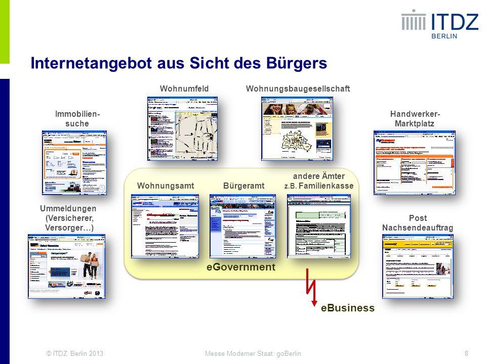 © ITDZ Berlin 20138Messe Moderner Staat: goBerlin Immobilien- suche Wohnumfeld Ummeldungen (Versicherer, Versorger…) Wohnungsbaugesellschaft Handwerke