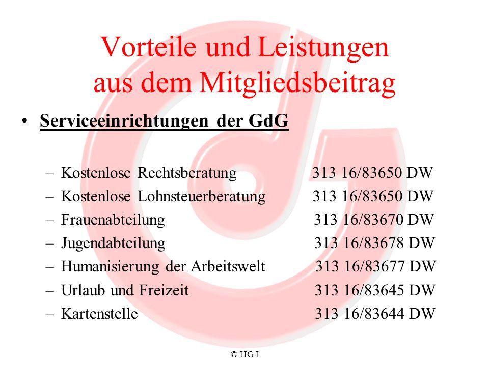 © HG I Vorteile und Leistungen aus dem Mitgliedsbeitrag Serviceeinrichtungen der GdG –Kostenlose Rechtsberatung 313 16/83650 DW –Kostenlose Lohnsteuer