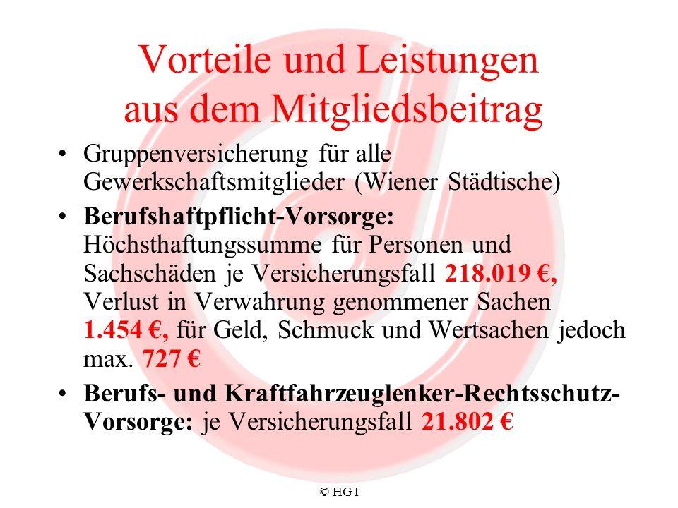 © HG I Vorteile und Leistungen aus dem Mitgliedsbeitrag Gruppenversicherung für alle Gewerkschaftsmitglieder (Wiener Städtische) Berufshaftpflicht-Vor