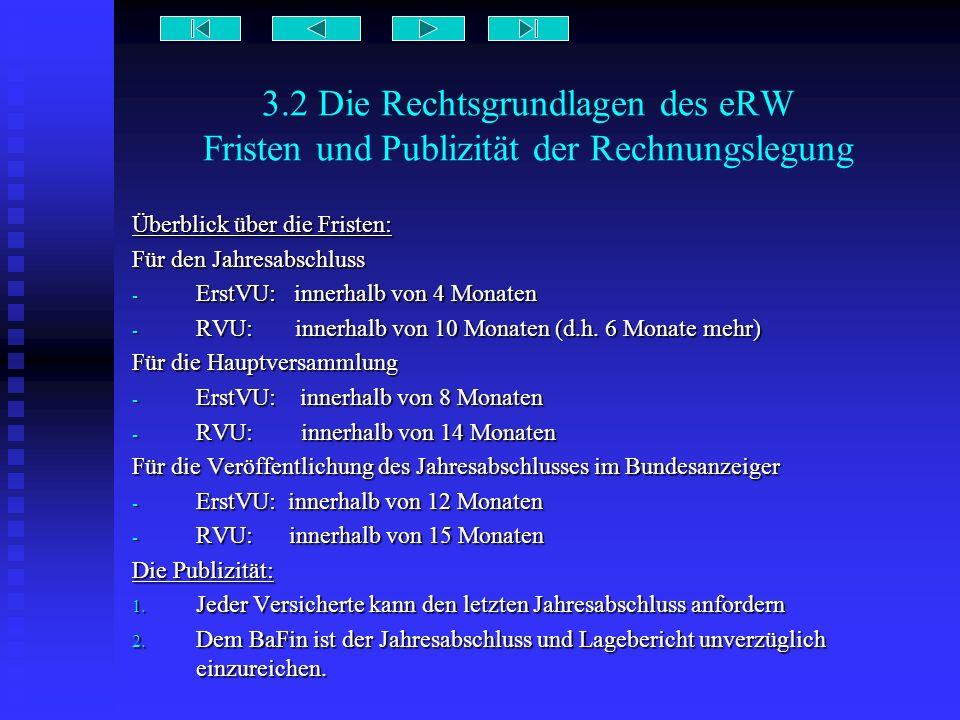3.2 Die Rechtsgrundlagen des eRW Fristen und Publizität der Rechnungslegung Überblick über die Fristen: Für den Jahresabschluss - ErstVU: innerhalb vo