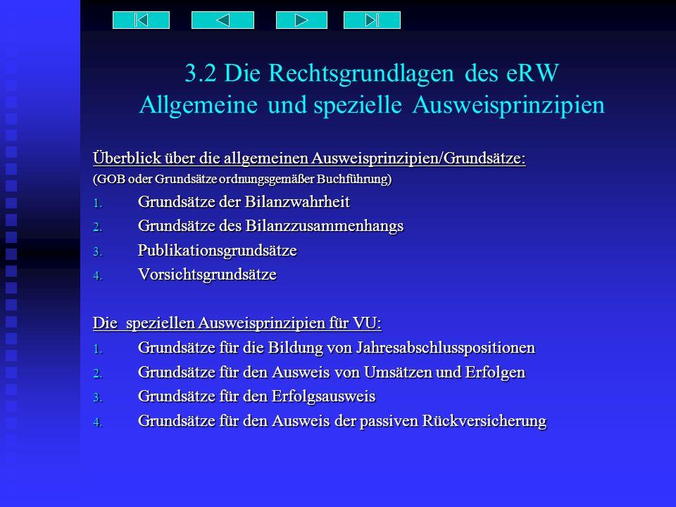 3.2 Die Rechtsgrundlagen des eRW Allgemeine und spezielle Ausweisprinzipien Überblick über die allgemeinen Ausweisprinzipien/Grundsätze: (GOB oder Gru