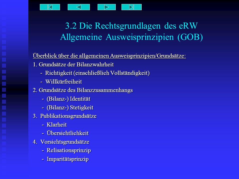 3.2 Die Rechtsgrundlagen des eRW Allgemeine Ausweisprinzipien (GOB) Überblick über die allgemeinen Ausweisprinzipien/Grundsätze: 1. Grundsätze der Bil