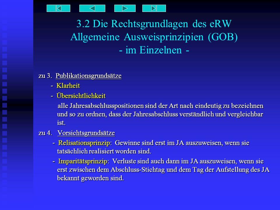 3.2 Die Rechtsgrundlagen des eRW Allgemeine Ausweisprinzipien (GOB) - im Einzelnen - zu 3. Publikationsgrundsätze - Klarheit - Klarheit - Übersichtlic
