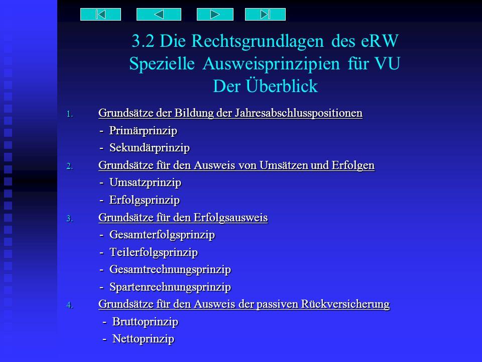 3.2 Die Rechtsgrundlagen des eRW Spezielle Ausweisprinzipien für VU Der Überblick 1. Grundsätze der Bildung der Jahresabschlusspositionen - Primärprin