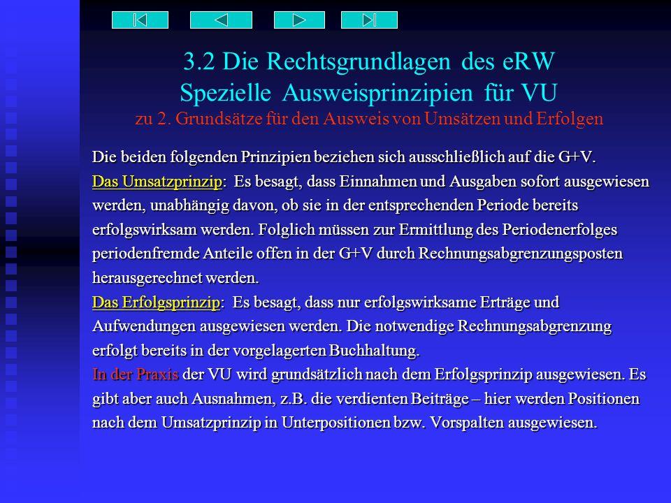 3.2 Die Rechtsgrundlagen des eRW Spezielle Ausweisprinzipien für VU zu 2. Grundsätze für den Ausweis von Umsätzen und Erfolgen Die beiden folgenden Pr