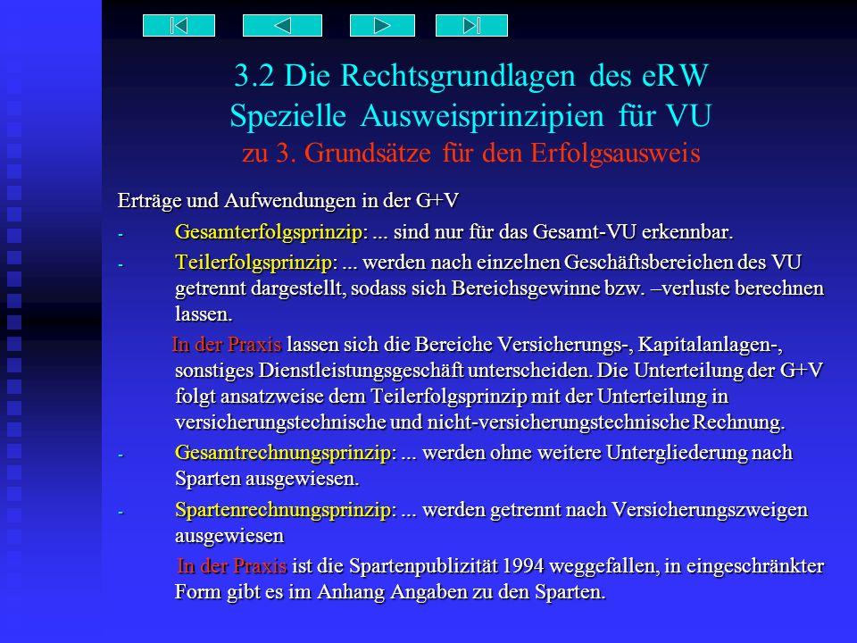 3.2 Die Rechtsgrundlagen des eRW Spezielle Ausweisprinzipien für VU zu 3. Grundsätze für den Erfolgsausweis Erträge und Aufwendungen in der G+V - Gesa
