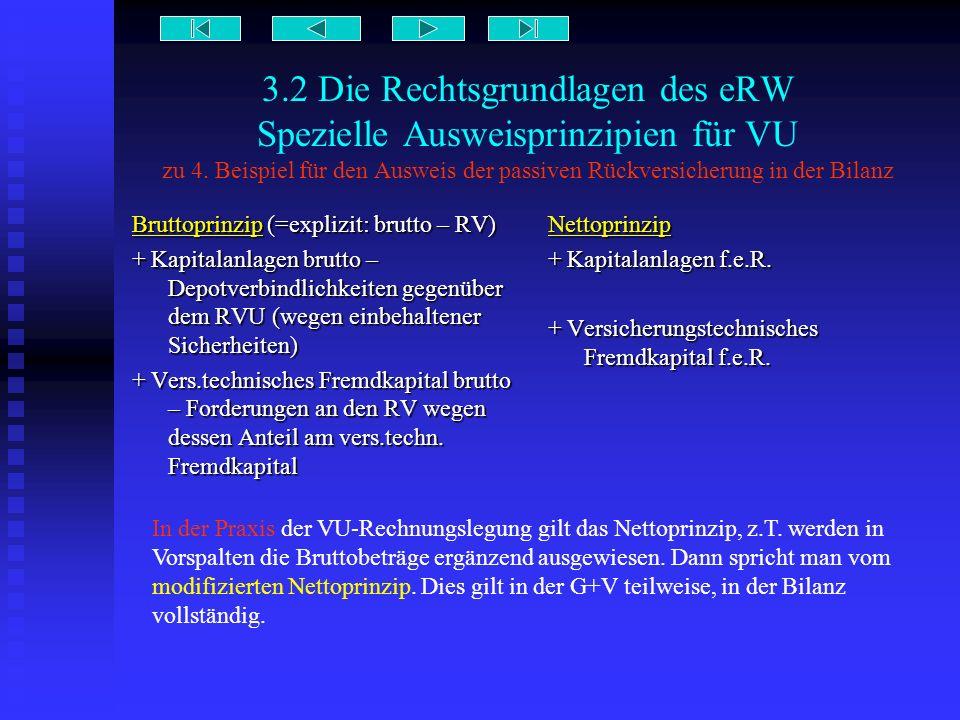 3.2 Die Rechtsgrundlagen des eRW Spezielle Ausweisprinzipien für VU zu 4. Beispiel für den Ausweis der passiven Rückversicherung in der Bilanz Bruttop