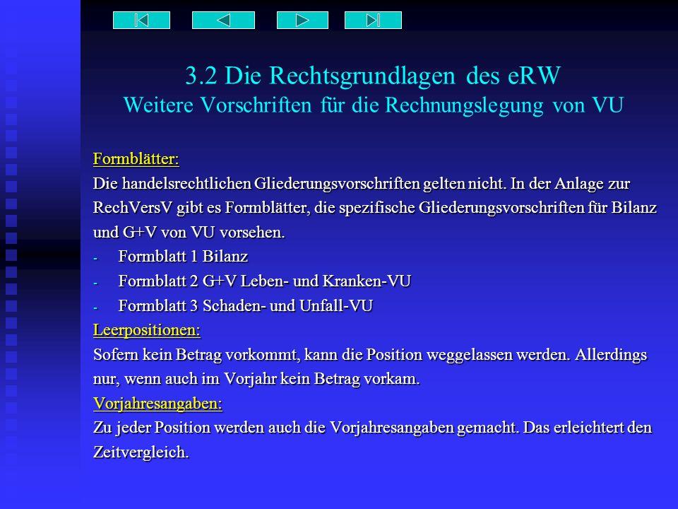 3.2 Die Rechtsgrundlagen des eRW Weitere Vorschriften für die Rechnungslegung von VU Formblätter: Die handelsrechtlichen Gliederungsvorschriften gelte