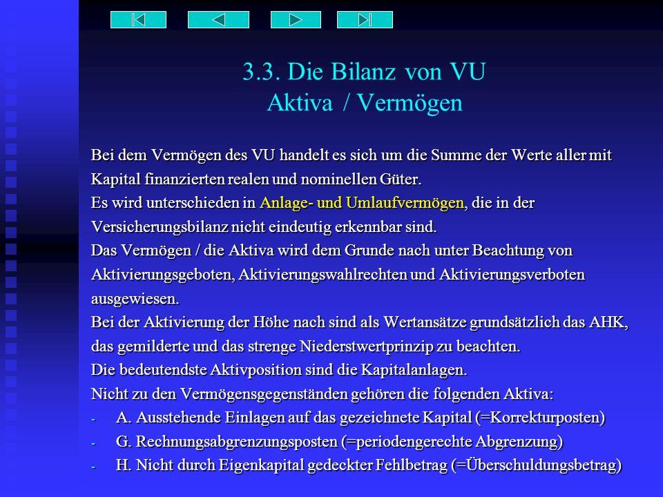 3.3. Die Bilanz von VU Aktiva / Vermögen Bei dem Vermögen des VU handelt es sich um die Summe der Werte aller mit Kapital finanzierten realen und nomi