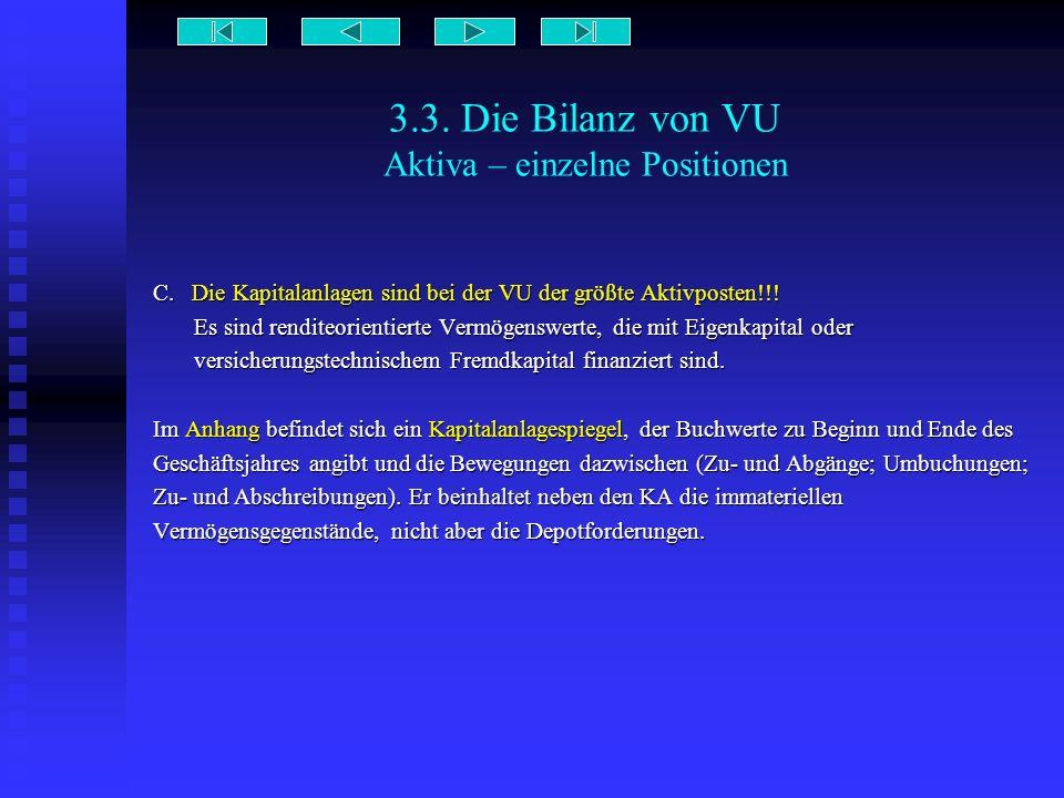 3.3. Die Bilanz von VU Aktiva – einzelne Positionen C. Die Kapitalanlagen sind bei der VU der größte Aktivposten!!! Es sind renditeorientierte Vermöge