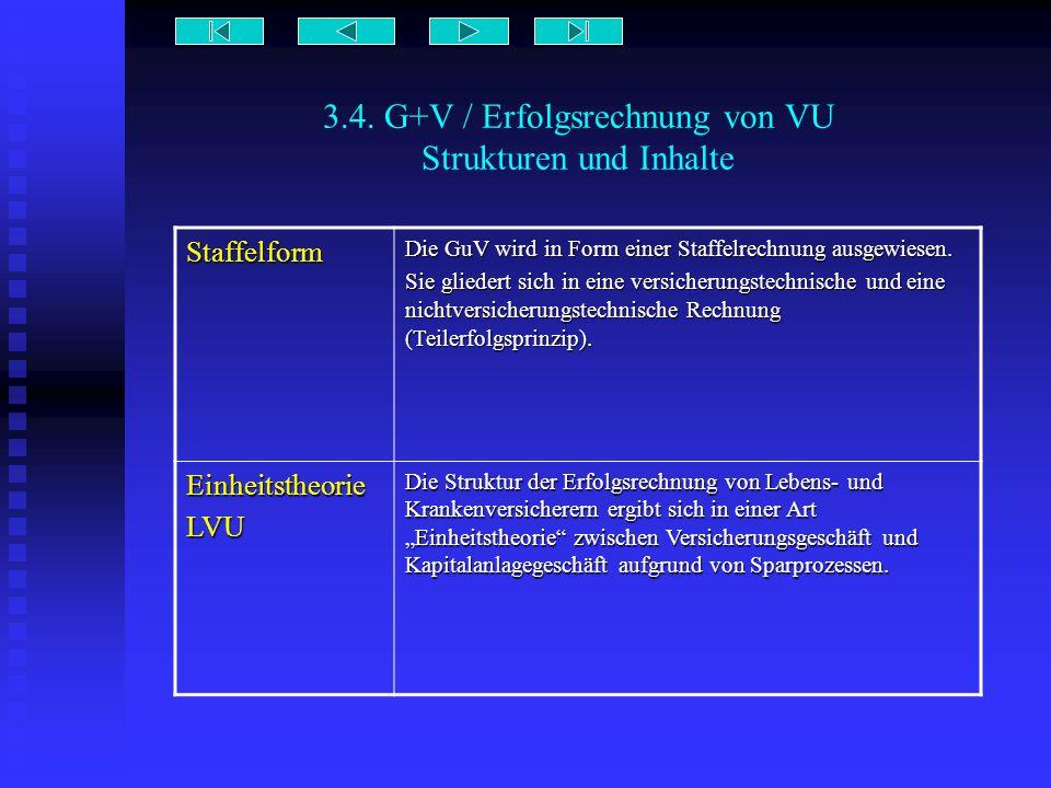 3.4. G+V / Erfolgsrechnung von VU Strukturen und Inhalte Staffelform Die GuV wird in Form einer Staffelrechnung ausgewiesen. Sie gliedert sich in eine