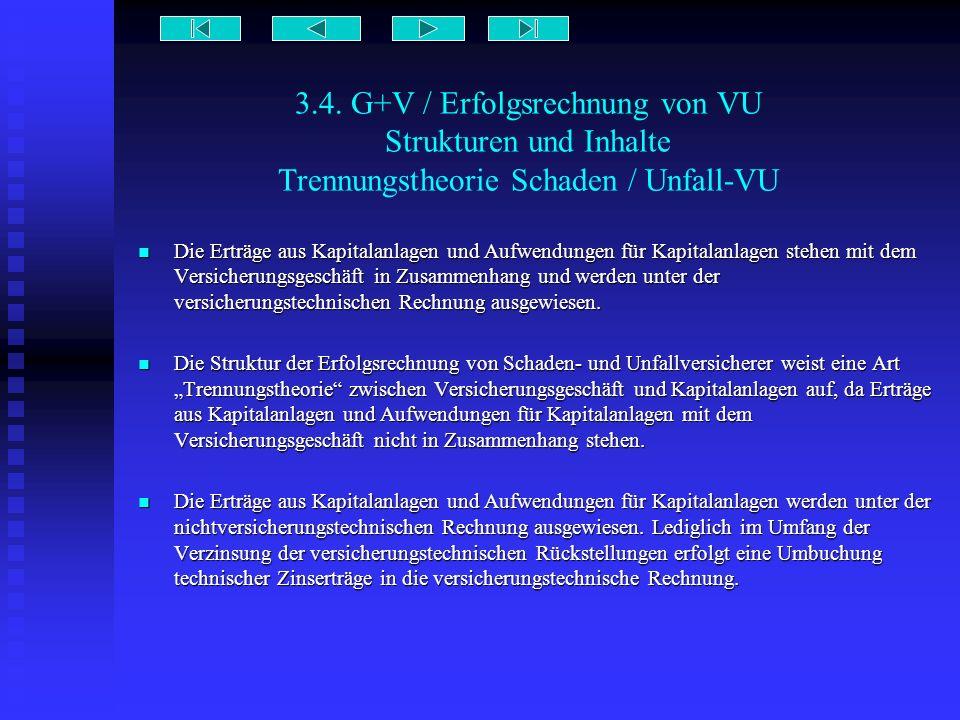 3.4. G+V / Erfolgsrechnung von VU Strukturen und Inhalte Trennungstheorie Schaden / Unfall-VU Die Erträge aus Kapitalanlagen und Aufwendungen für Kapi