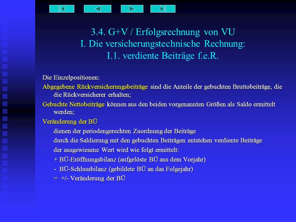 3.4. G+V / Erfolgsrechnung von VU I. Die versicherungstechnische Rechnung: I.1. verdiente Beiträge f.e.R. Die Einzelpositionen: Abgegebene Rückversich