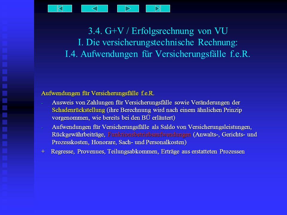 3.4. G+V / Erfolgsrechnung von VU I. Die versicherungstechnische Rechnung: I.4. Aufwendungen für Versicherungsfälle f.e.R. Aufwendungen für Versicheru