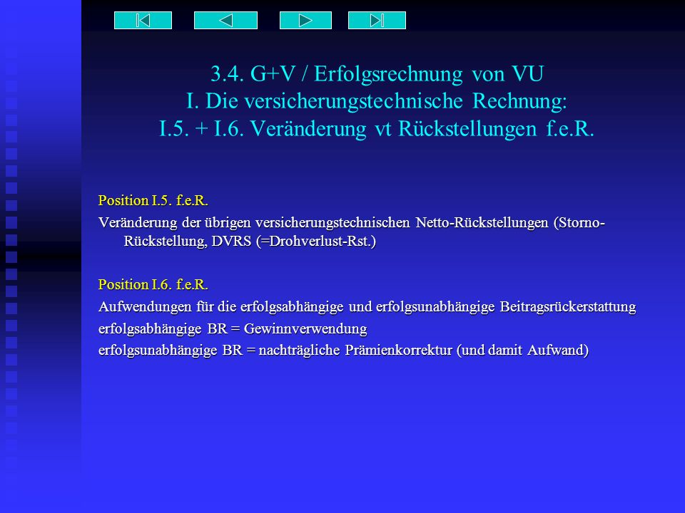 3.4. G+V / Erfolgsrechnung von VU I. Die versicherungstechnische Rechnung: I.5. + I.6. Veränderung vt Rückstellungen f.e.R. Position I.5. f.e.R. Verän