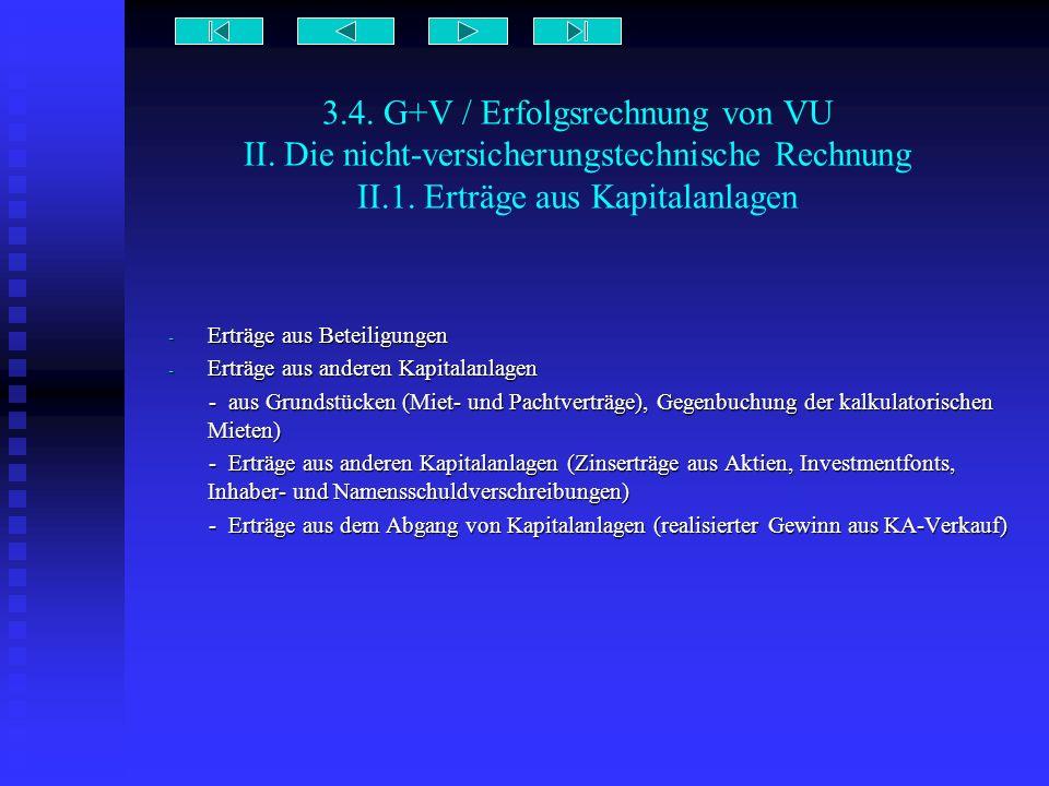 3.4. G+V / Erfolgsrechnung von VU II. Die nicht-versicherungstechnische Rechnung II.1. Erträge aus Kapitalanlagen - Erträge aus Beteiligungen - Erträg