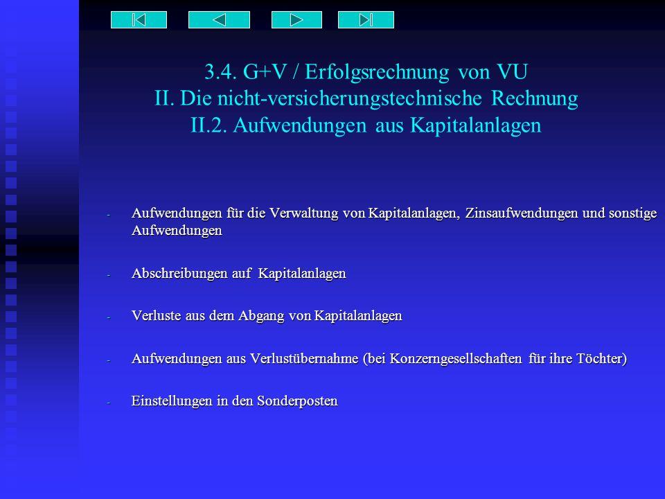 3.4. G+V / Erfolgsrechnung von VU II. Die nicht-versicherungstechnische Rechnung II.2. Aufwendungen aus Kapitalanlagen - Aufwendungen für die Verwaltu
