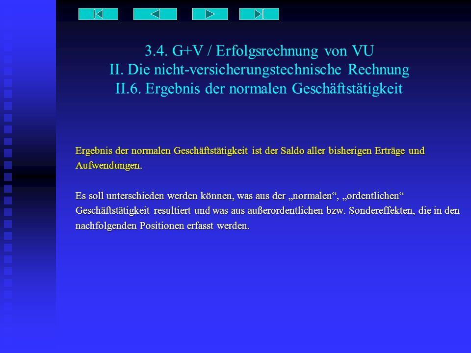 3.4. G+V / Erfolgsrechnung von VU II. Die nicht-versicherungstechnische Rechnung II.6. Ergebnis der normalen Geschäftstätigkeit Ergebnis der normalen