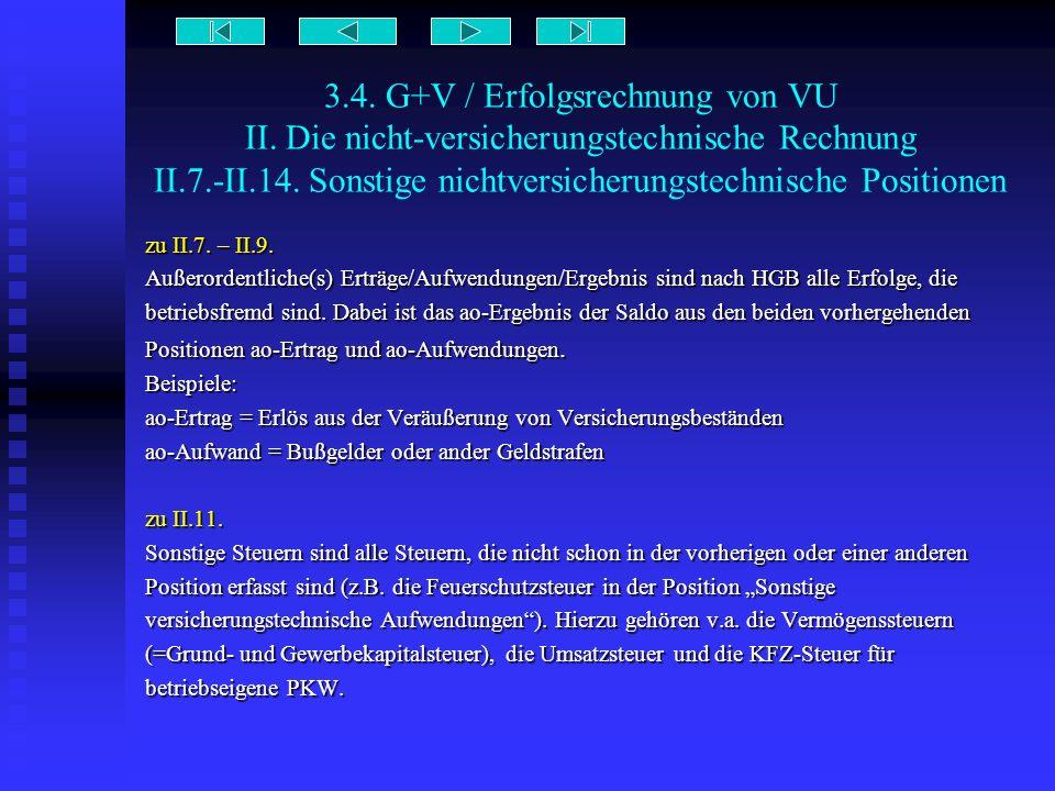 3.4. G+V / Erfolgsrechnung von VU II. Die nicht-versicherungstechnische Rechnung II.7.-II.14. Sonstige nichtversicherungstechnische Positionen zu II.7