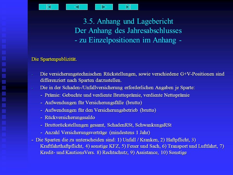 3.5. Anhang und Lagebericht Der Anhang des Jahresabschlusses - zu Einzelpositionen im Anhang - Die Spartenpublizität. - Die versicherungstechnischen R