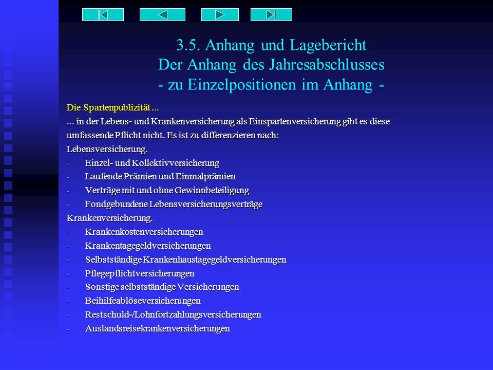 3.5. Anhang und Lagebericht Der Anhang des Jahresabschlusses - zu Einzelpositionen im Anhang - Die Spartenpublizität...... in der Lebens- und Krankenv