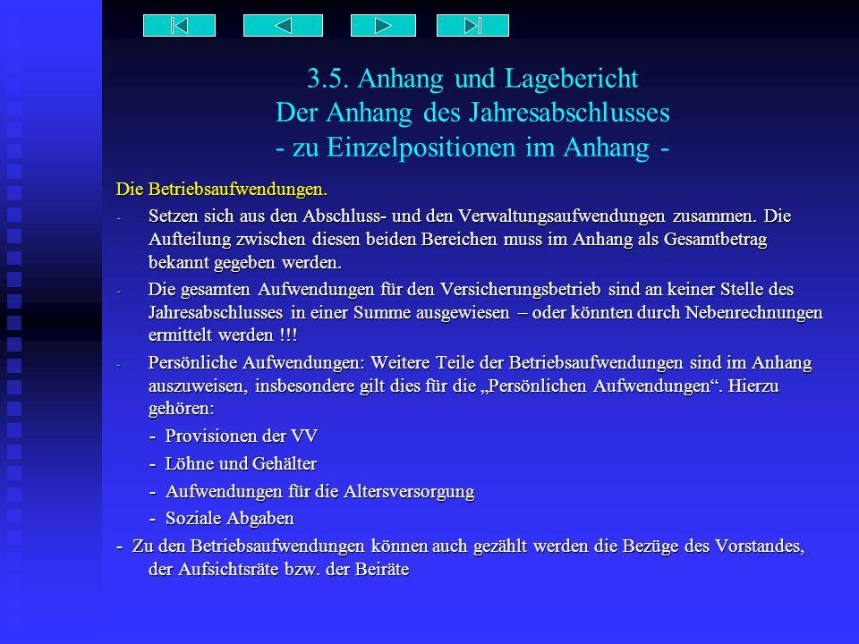 3.5. Anhang und Lagebericht Der Anhang des Jahresabschlusses - zu Einzelpositionen im Anhang - Die Betriebsaufwendungen. - Setzen sich aus den Abschlu
