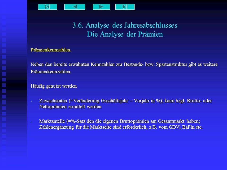 3.6. Analyse des Jahresabschlusses Die Analyse der Prämien Prämienkennzahlen. Neben den bereits erwähnten Kennzahlen zur Bestands- bzw. Spartenstruktu