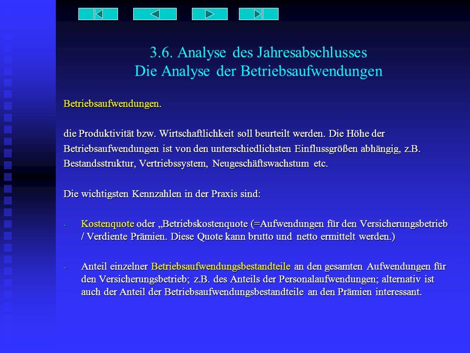 3.6. Analyse des Jahresabschlusses Die Analyse der Betriebsaufwendungen Betriebsaufwendungen. die Produktivität bzw. Wirtschaftlichkeit soll beurteilt