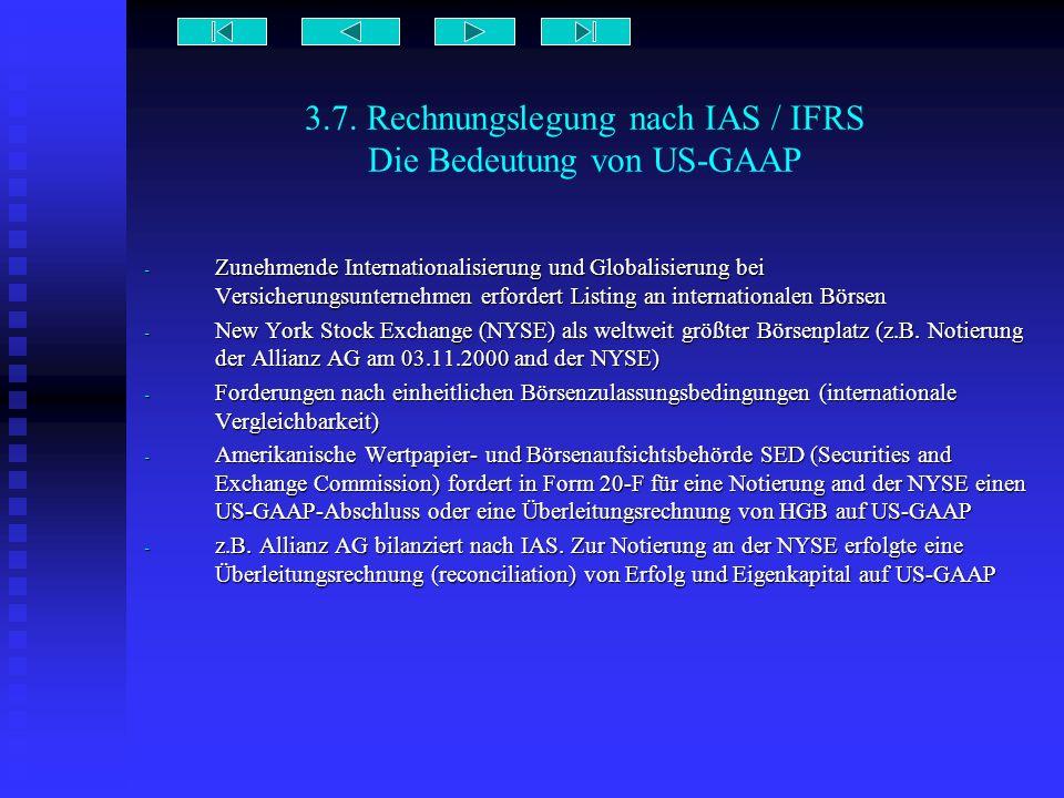 3.7. Rechnungslegung nach IAS / IFRS Die Bedeutung von US-GAAP - Zunehmende Internationalisierung und Globalisierung bei Versicherungsunternehmen erfo