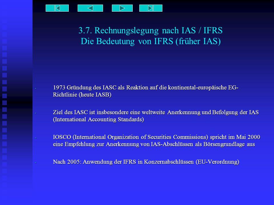 3.7. Rechnungslegung nach IAS / IFRS Die Bedeutung von IFRS (früher IAS) - 1973 Gründung des IASC als Reaktion auf die kontinental-europäische EG- Ric
