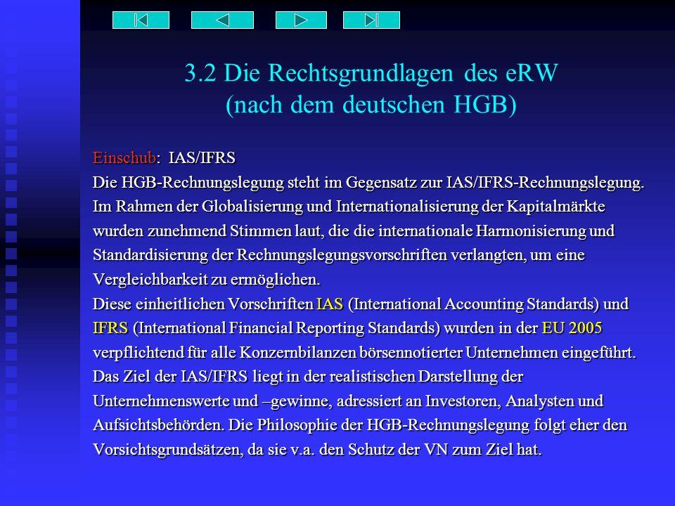 3.2 Die Rechtsgrundlagen des eRW (nach dem deutschen HGB) Einschub: IAS/IFRS Die HGB-Rechnungslegung steht im Gegensatz zur IAS/IFRS-Rechnungslegung.