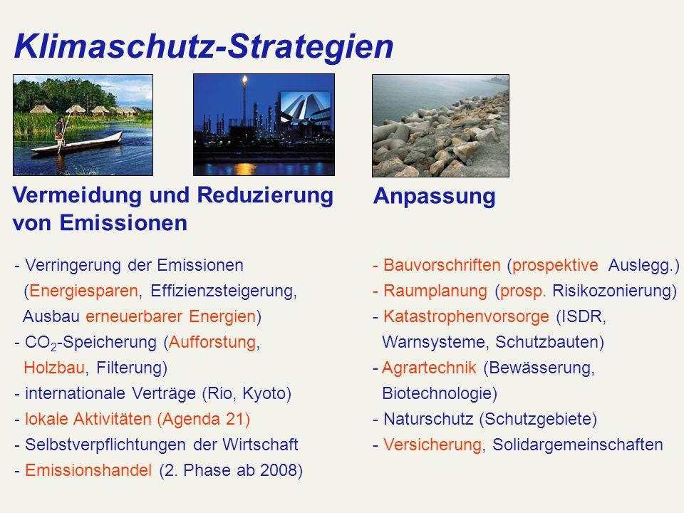 Klimaschutz-Strategien Anpassung Vermeidung und Reduzierung von Emissionen - Verringerung der Emissionen (Energiesparen, Effizienzsteigerung, Ausbau e