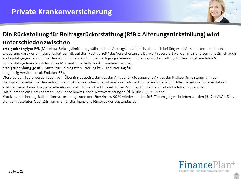 YOUR LOGO Die Rückstellung für Beitragsrückerstattung (RfB = Alterungsrückstellung) wird unterschieden zwischen erfolgsabhängiger RfB (Mittel zur Beit