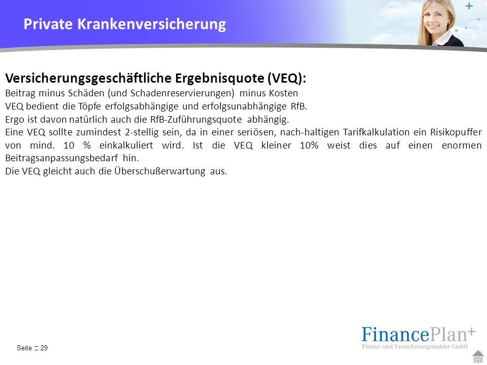 YOUR LOGO Versicherungsgeschäftliche Ergebnisquote (VEQ): Beitrag minus Schäden (und Schadenreservierungen) minus Kosten VEQ bedient die Töpfe erfolgs