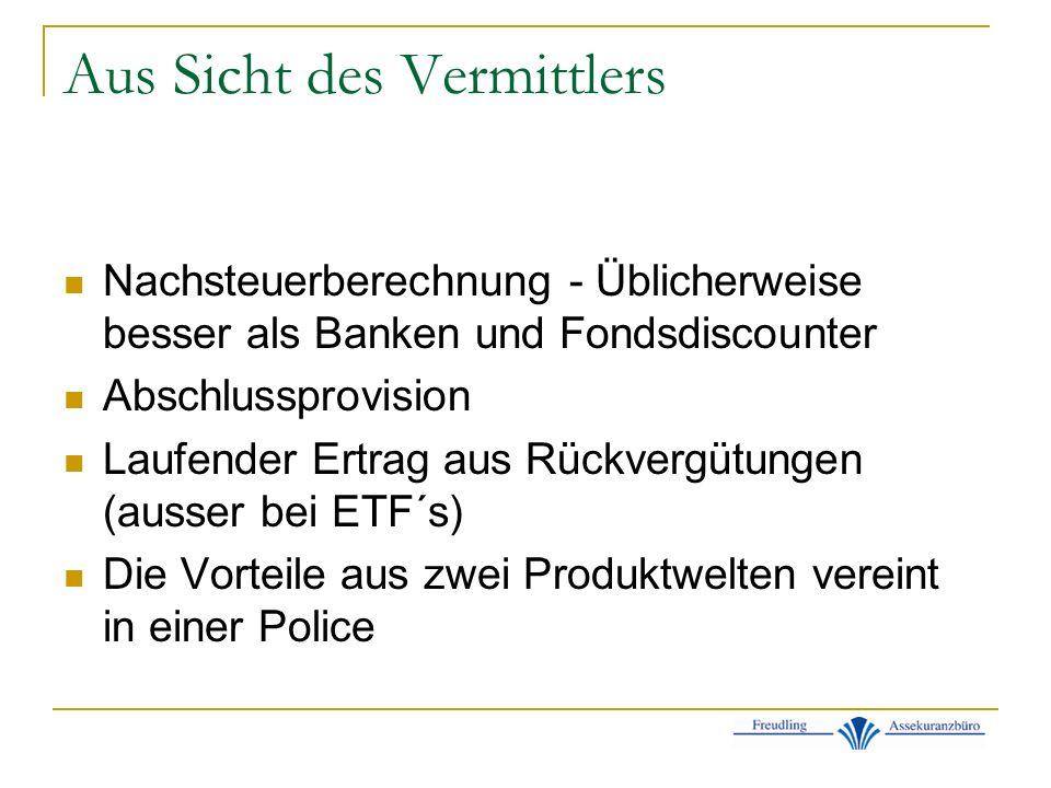 Aus Sicht des Vermittlers Nachsteuerberechnung - Üblicherweise besser als Banken und Fondsdiscounter Abschlussprovision Laufender Ertrag aus Rückvergütungen (ausser bei ETF´s) Die Vorteile aus zwei Produktwelten vereint in einer Police
